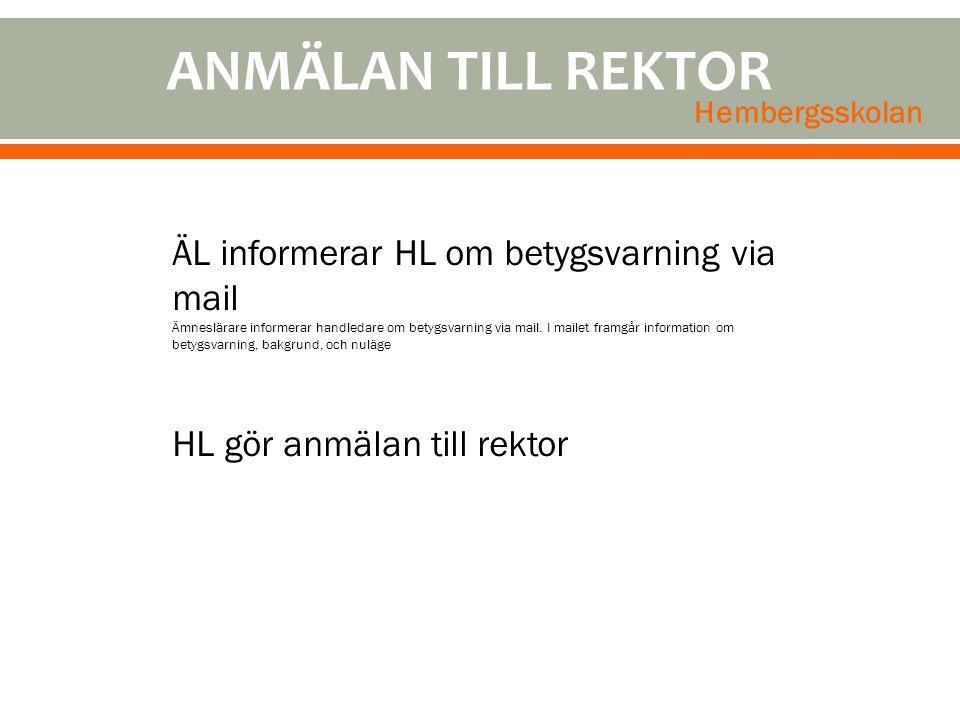 ANMÄLAN TILL REKTOR Hembergsskolan.