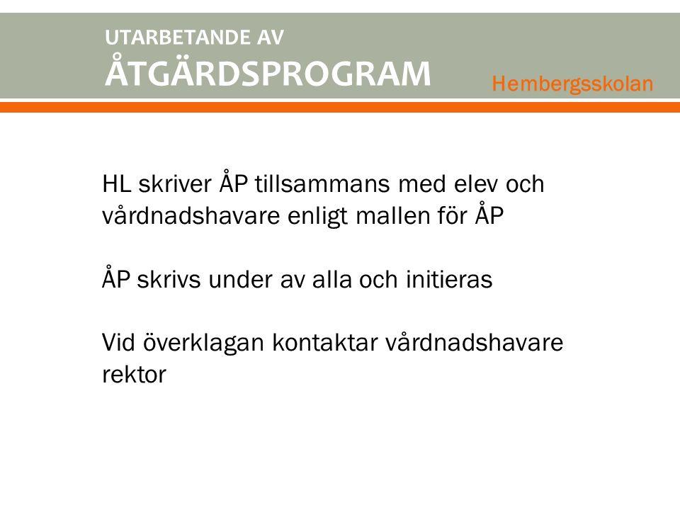 UTARBETANDE AV ÅTGÄRDSPROGRAM. Hembergsskolan. HL skriver ÅP tillsammans med elev och vårdnadshavare enligt mallen för ÅP.