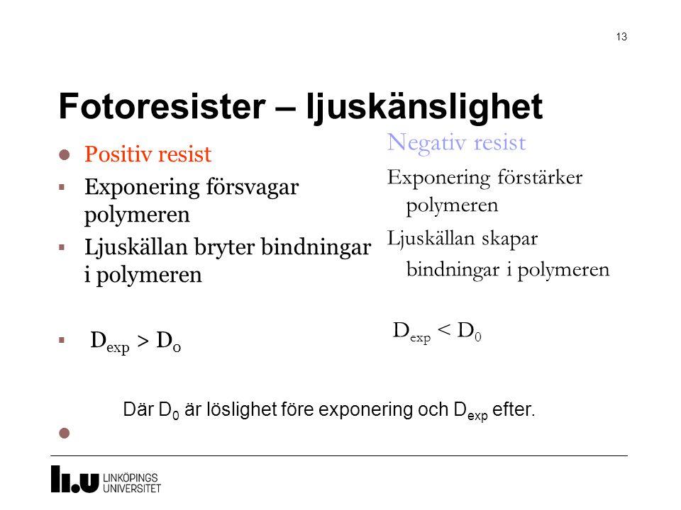 Fotoresister – ljuskänslighet