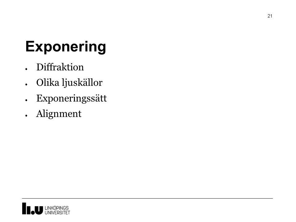 Exponering Diffraktion Olika ljuskällor Exponeringssätt Alignment
