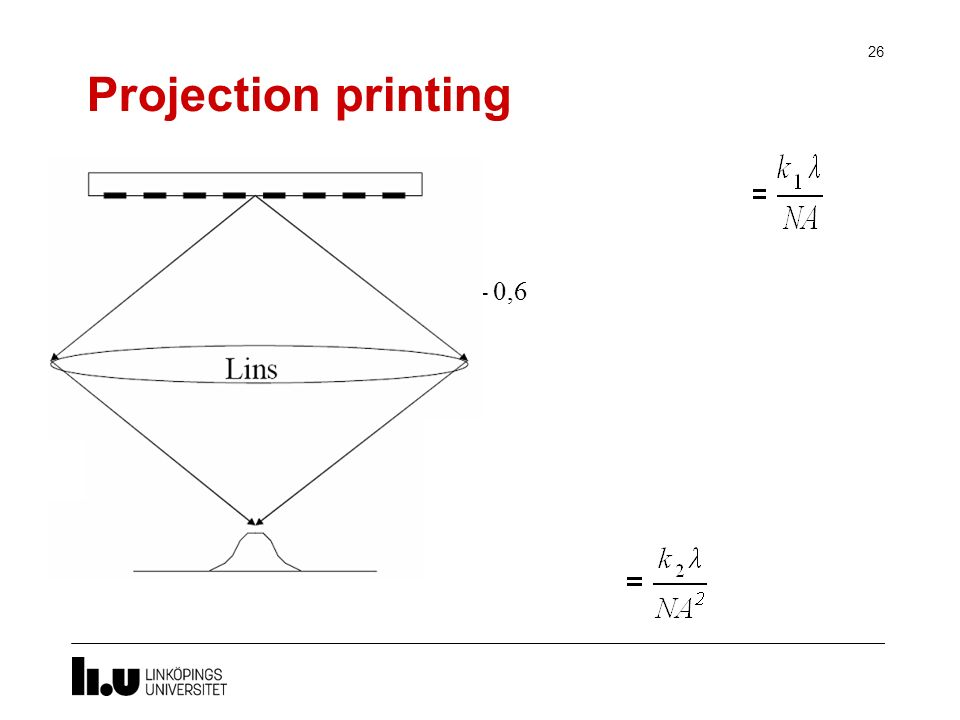 Projection printing Critical dimension