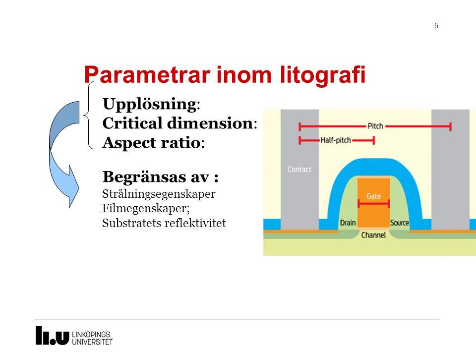 Parametrar inom litografi