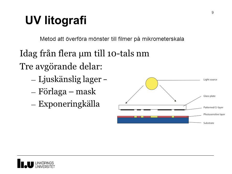 UV litografi Idag från flera μm till 10-tals nm Tre avgörande delar: