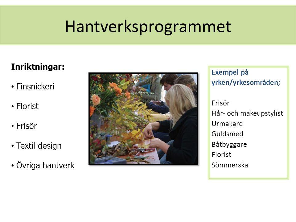 Hantverksprogrammet Inriktningar: Finsnickeri Florist Frisör