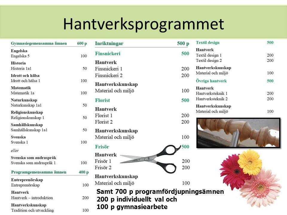 Hantverksprogrammet Samt 700 p programfördjupningsämnen