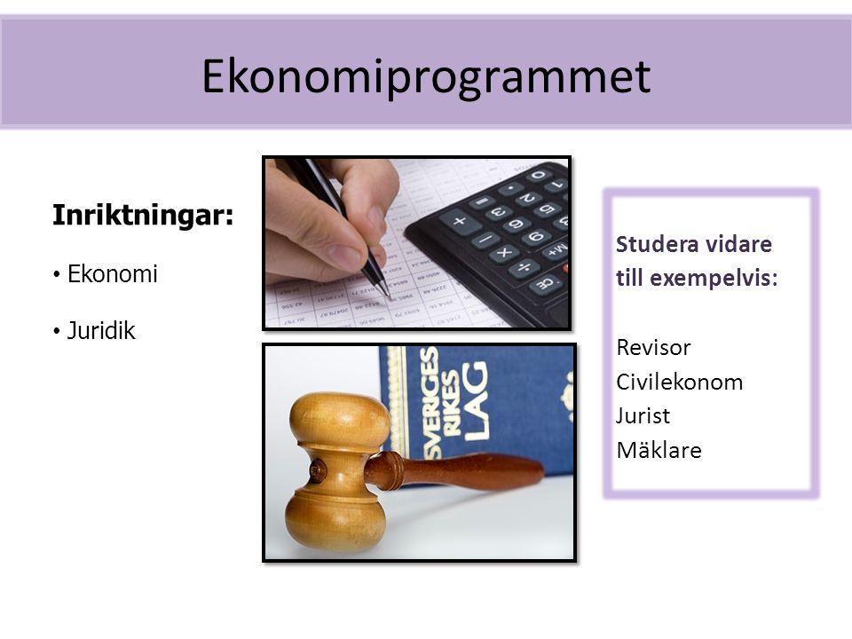 Ekonomiprogrammet Inriktningar: Studera vidare till exempelvis: