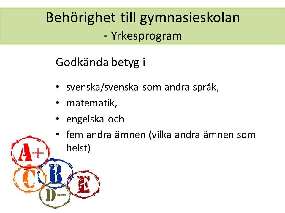 Behörighet till gymnasieskolan - Yrkesprogram