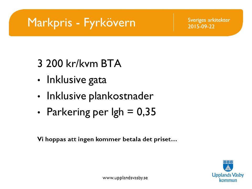 Markpris - Fyrkövern 3 200 kr/kvm BTA Inklusive gata