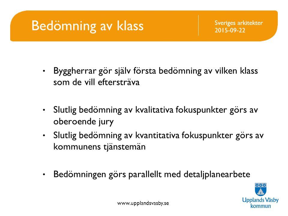 Bedömning av klass Byggherrar gör själv första bedömning av vilken klass som de vill eftersträva.