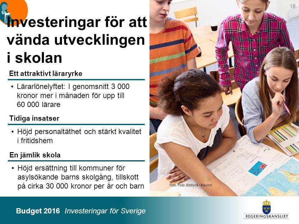 Investeringar för att vända utvecklingen i skolan