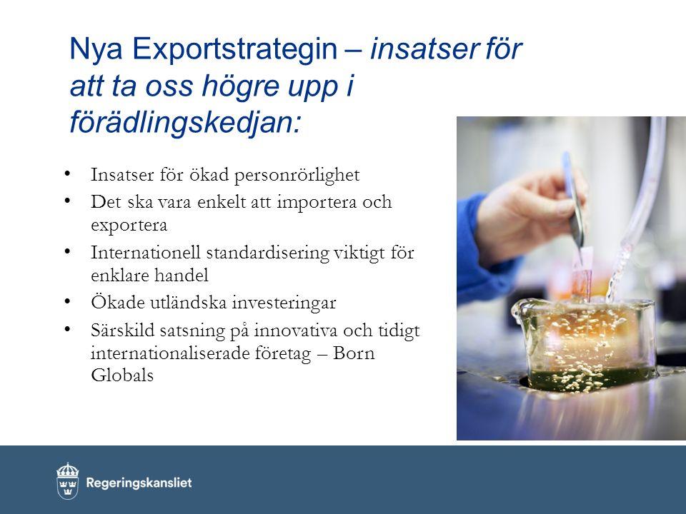 Nya Exportstrategin – insatser för att ta oss högre upp i förädlingskedjan: