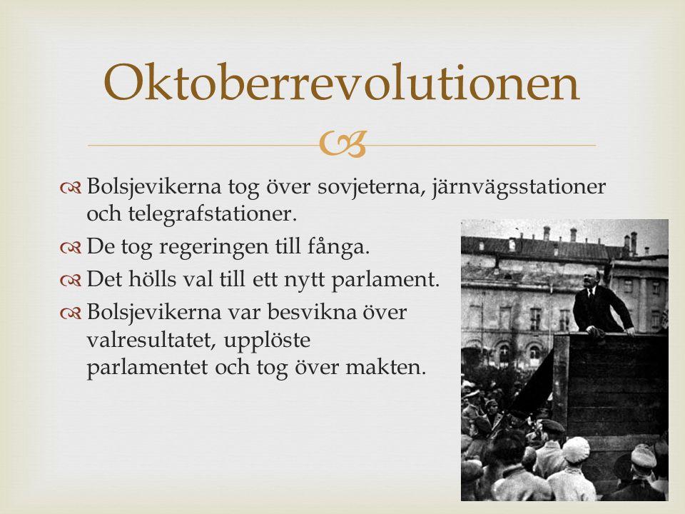 Oktoberrevolutionen Bolsjevikerna tog över sovjeterna, järnvägsstationer och telegrafstationer. De tog regeringen till fånga.