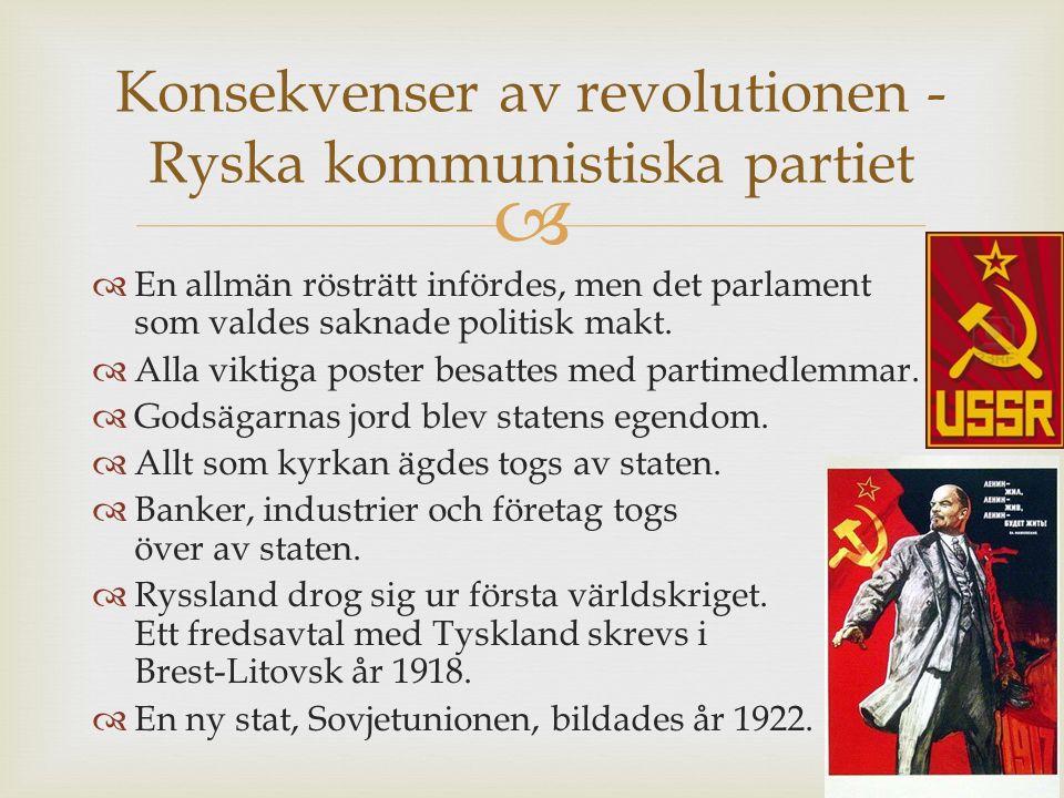 Konsekvenser av revolutionen - Ryska kommunistiska partiet