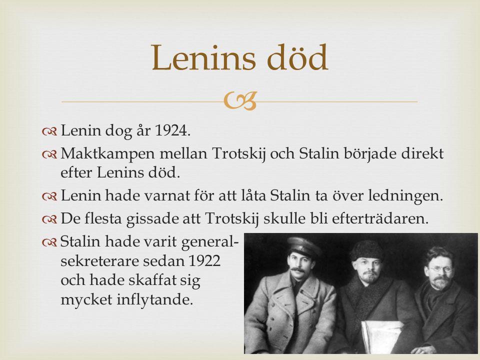 Lenins död Lenin dog år 1924. Maktkampen mellan Trotskij och Stalin började direkt efter Lenins död.