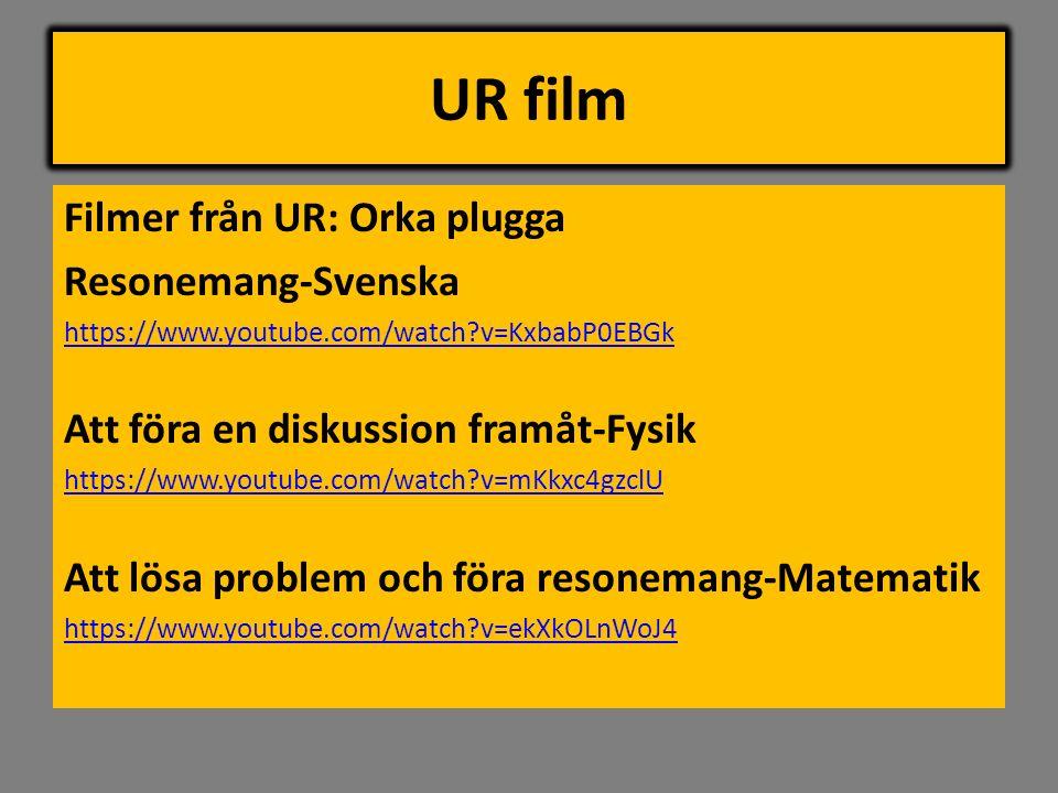 UR film Filmer från UR: Orka plugga Resonemang-Svenska