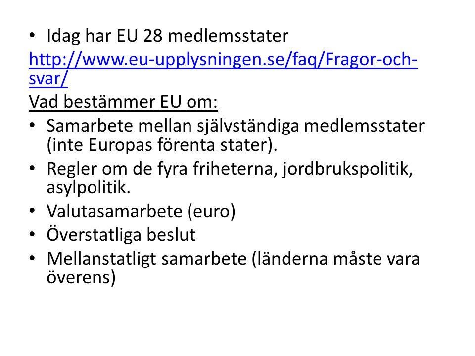 Idag har EU 28 medlemsstater