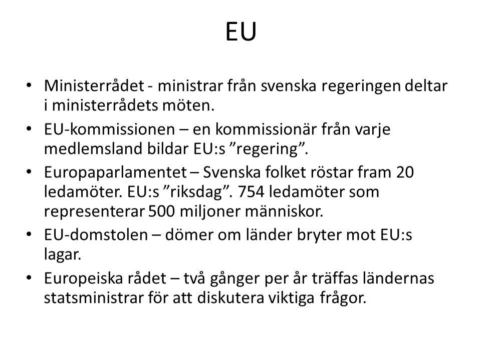 EU Ministerrådet - ministrar från svenska regeringen deltar i ministerrådets möten.