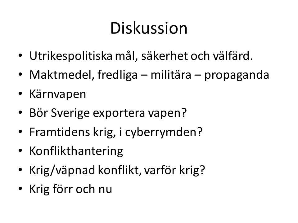 Diskussion Utrikespolitiska mål, säkerhet och välfärd.