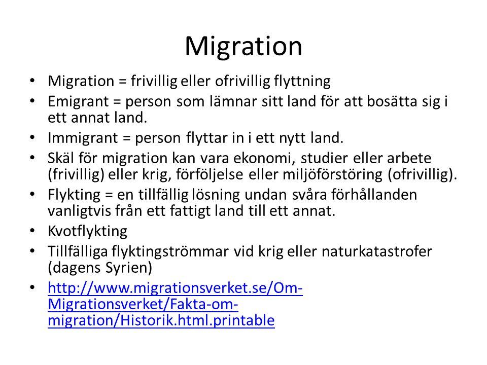 Migration Migration = frivillig eller ofrivillig flyttning