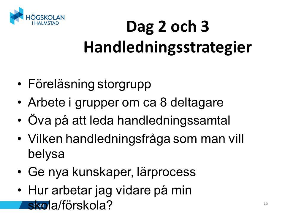 Dag 2 och 3 Handledningsstrategier