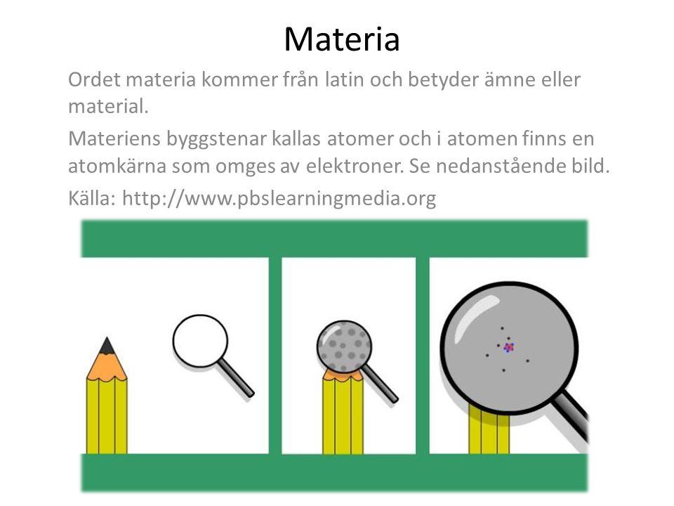 Materia Ordet materia kommer från latin och betyder ämne eller material.