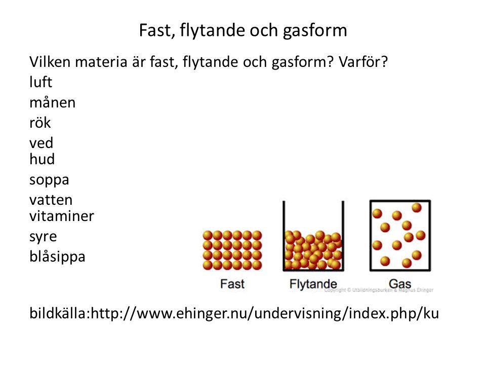 Fast, flytande och gasform