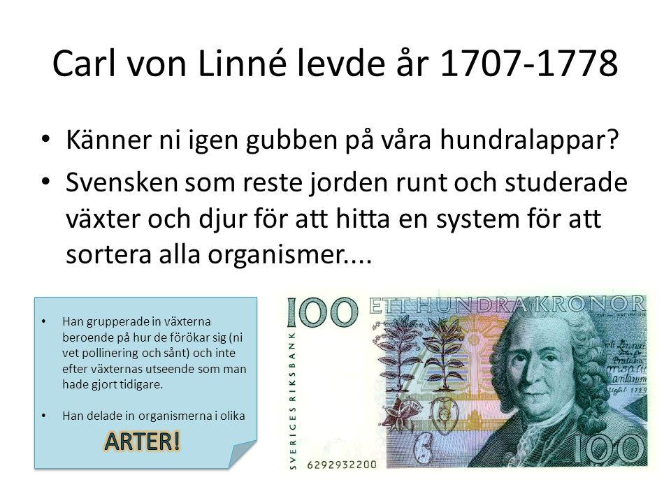 Carl von Linné levde år 1707-1778