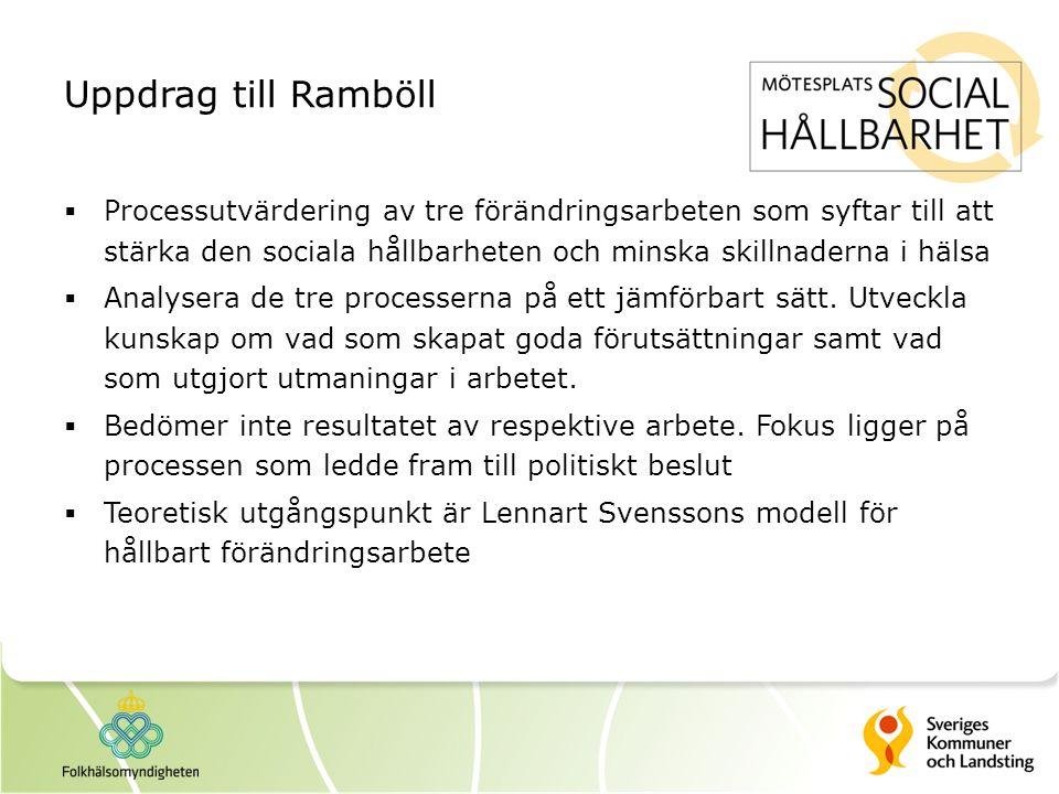 Uppdrag till Ramböll Processutvärdering av tre förändringsarbeten som syftar till att stärka den sociala hållbarheten och minska skillnaderna i hälsa.