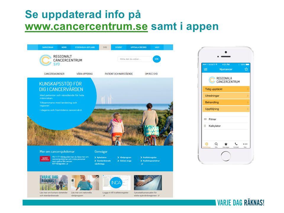 Se uppdaterad info på www.cancercentrum.se samt i appen