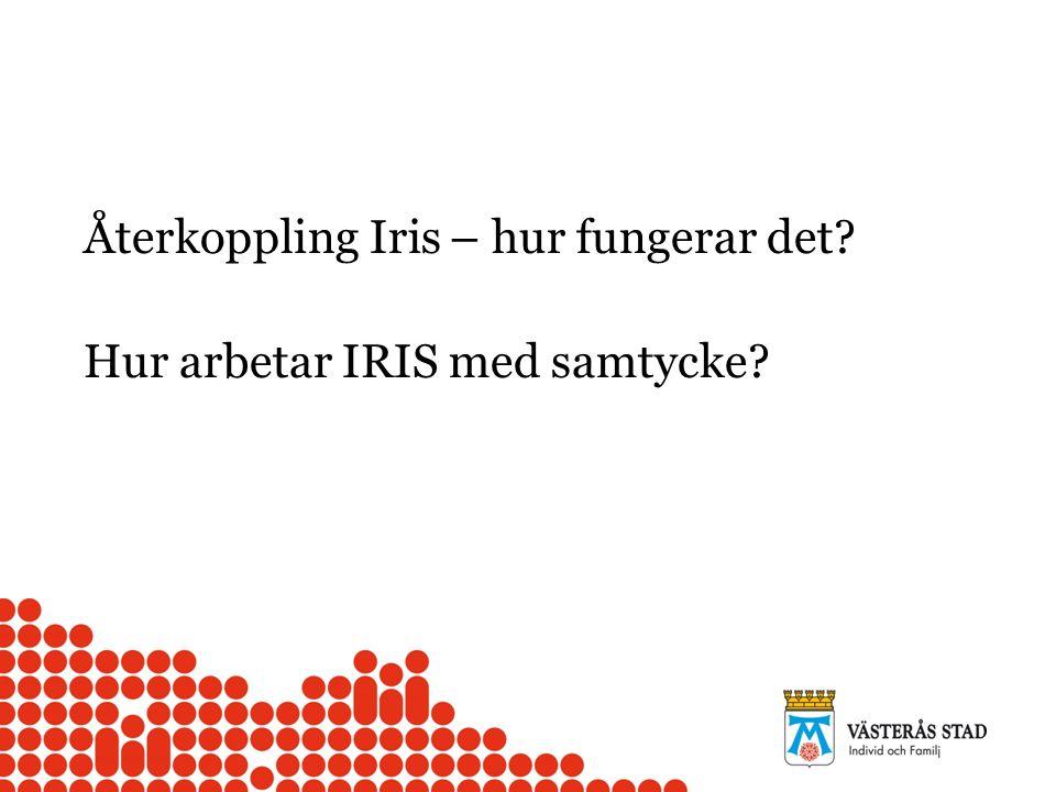 Återkoppling Iris – hur fungerar det Hur arbetar IRIS med samtycke