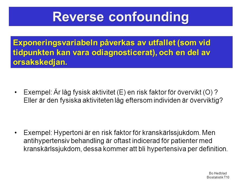 Reverse confounding Exponeringsvariabeln påverkas av utfallet (som vid tidpunkten kan vara odiagnosticerat), och en del av orsakskedjan.