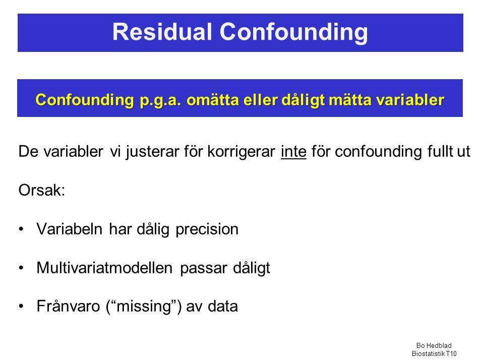 Confounding p.g.a. omätta eller dåligt mätta variabler