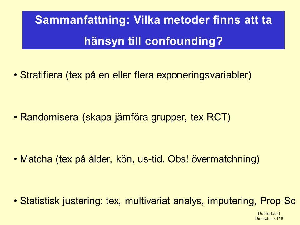 Sammanfattning: Vilka metoder finns att ta hänsyn till confounding