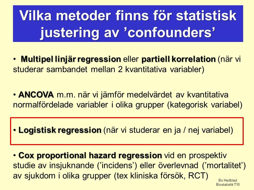 Vilka metoder finns för statistisk justering av 'confounders'