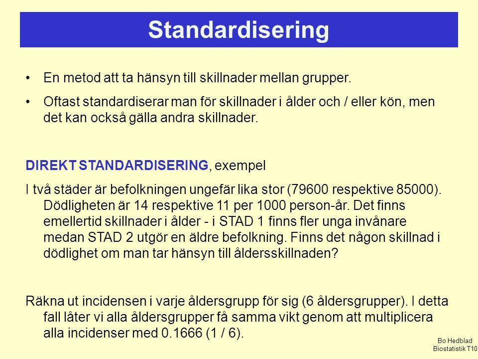 Standardisering En metod att ta hänsyn till skillnader mellan grupper.