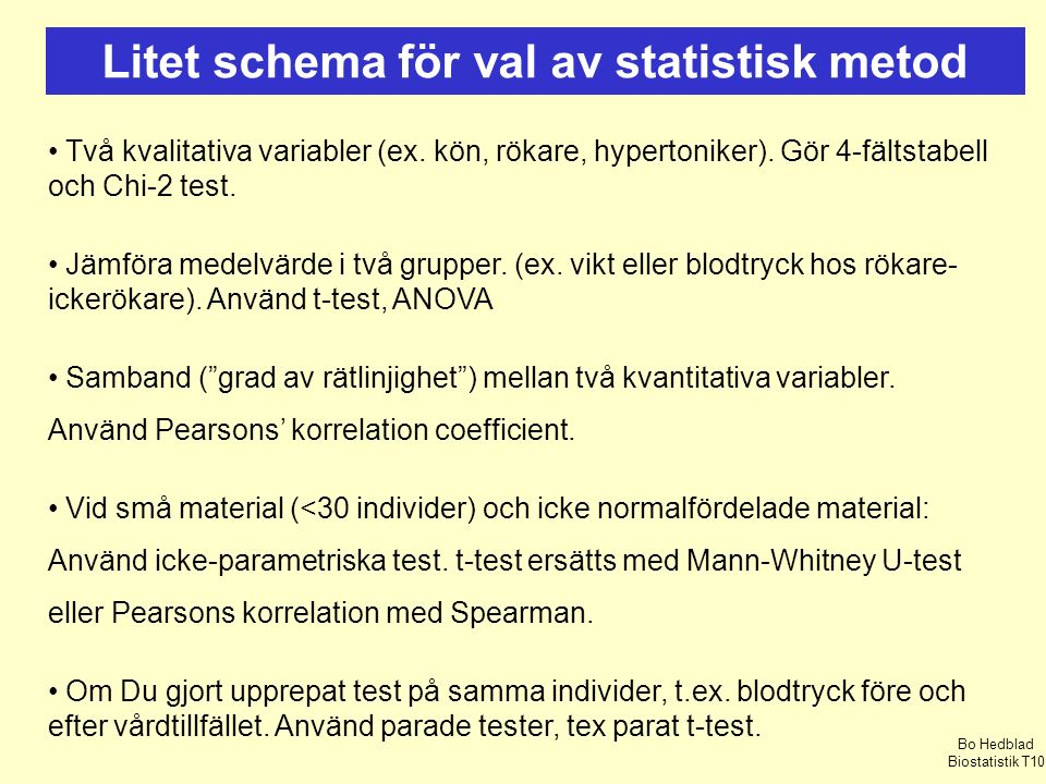 Litet schema för val av statistisk metod