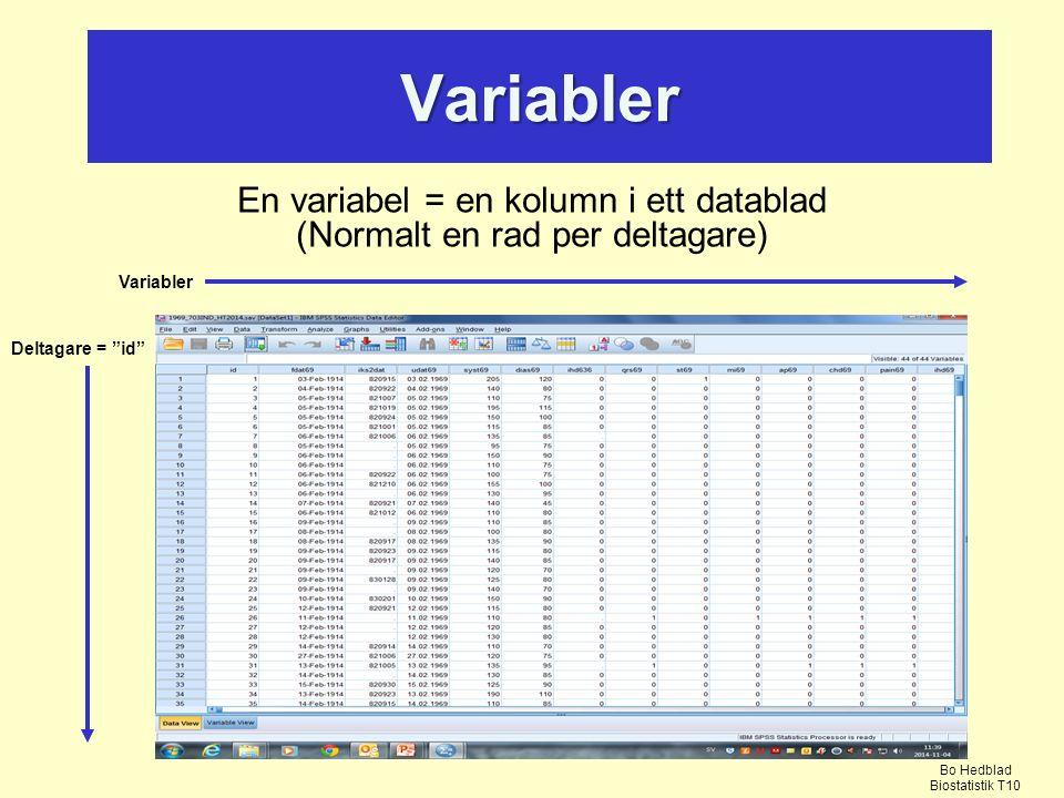 En variabel = en kolumn i ett datablad (Normalt en rad per deltagare)