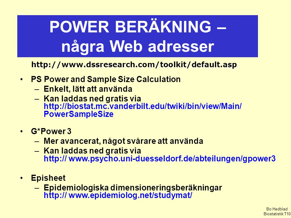 POWER BERÄKNING – några Web adresser