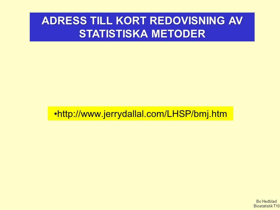 ADRESS TILL KORT REDOVISNING AV STATISTISKA METODER