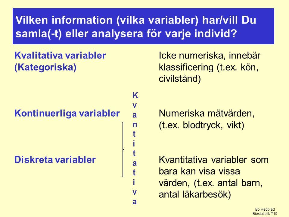 Vilken information (vilka variabler) har/vill Du samla(-t) eller analysera för varje individ