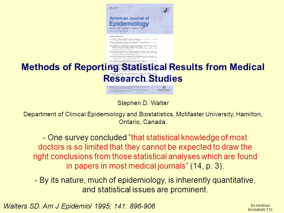 Methods of Reporting Statistical Results from Medical Research Studies