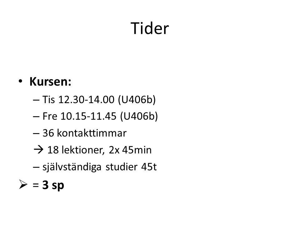 Tider Kursen: = 3 sp Tis 12.30-14.00 (U406b) Fre 10.15-11.45 (U406b)