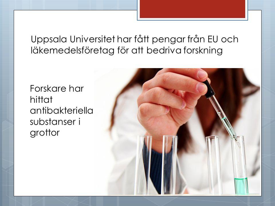 Uppsala Universitet har fått pengar från EU och läkemedelsföretag för att bedriva forskning
