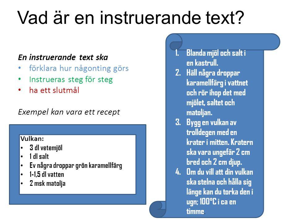 Vad är en instruerande text