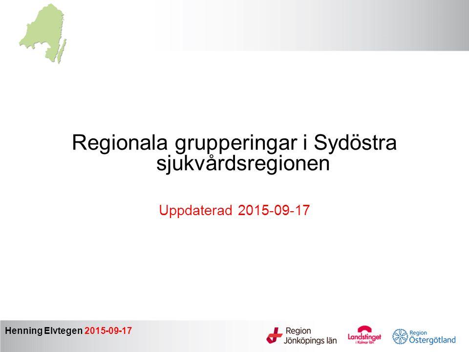 Regionala grupperingar i Sydöstra sjukvårdsregionen