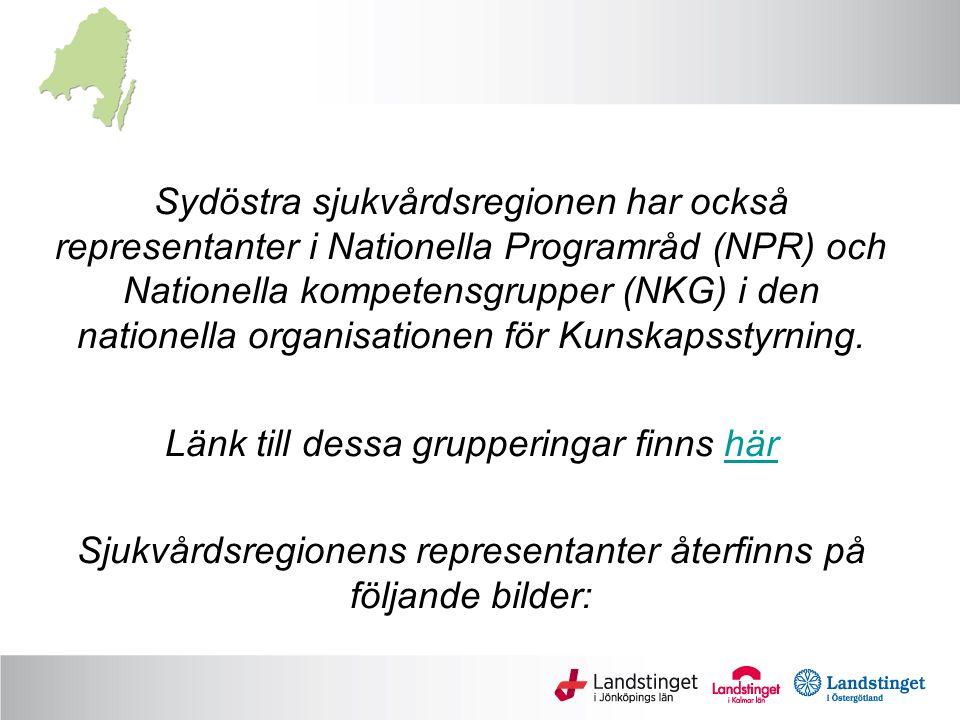 Sydöstra sjukvårdsregionen har också representanter i Nationella Programråd (NPR) och Nationella kompetensgrupper (NKG) i den nationella organisationen för Kunskapsstyrning.