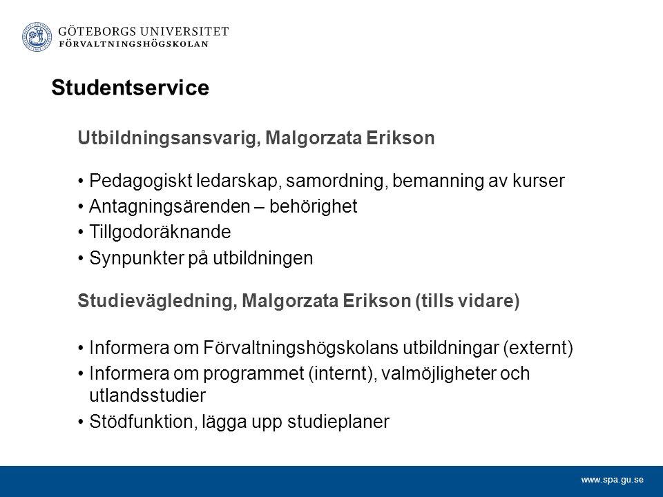 Studentservice Utbildningsansvarig, Malgorzata Erikson