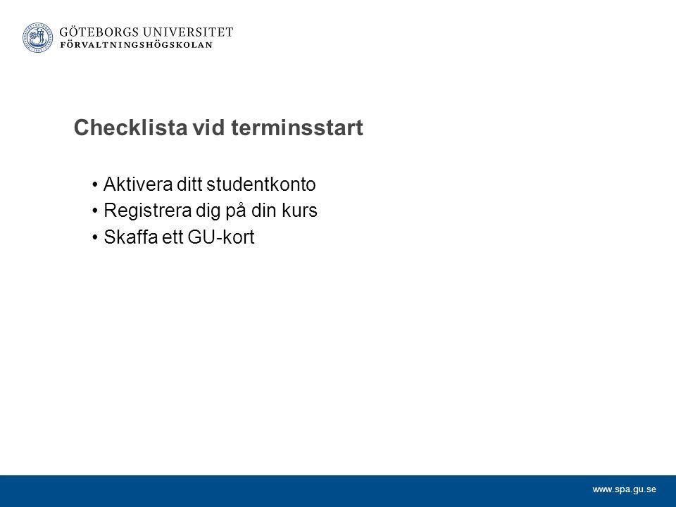 Checklista vid terminsstart