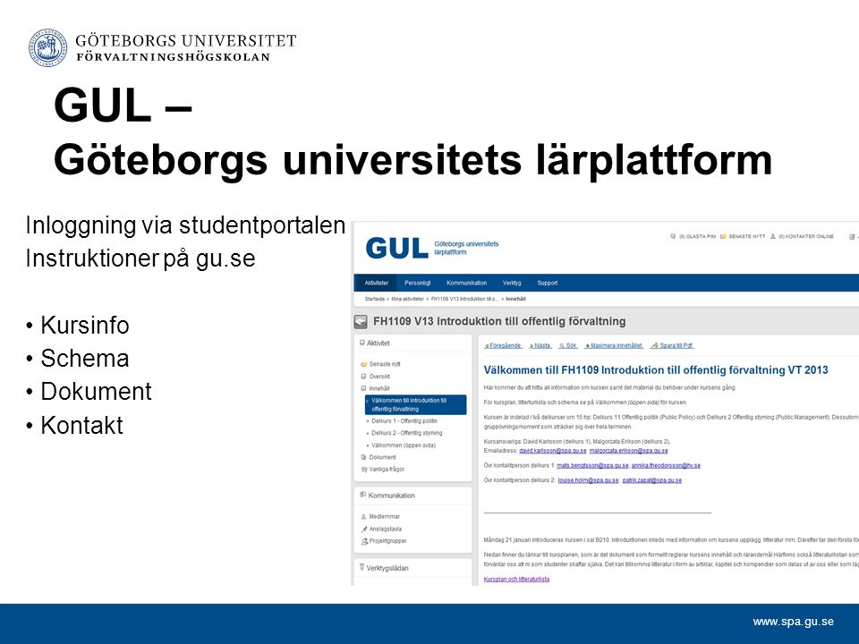 GUL – Göteborgs universitets lärplattform