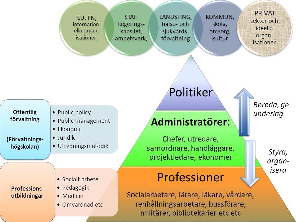 Politiker Professioner Administratörer: Bereda, ge underlag